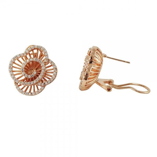 DLF Rose-Gold Tone Sterling Silver Flower With Post Clip Earrings W18