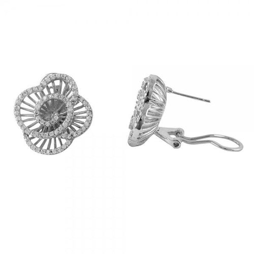 DLF Rhodium Plated Sterling Silver Flower With White Post Stud Earrings W18