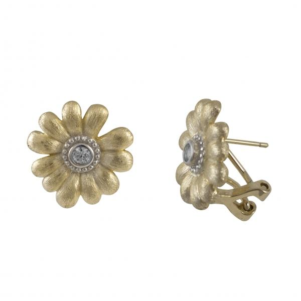 DLF Sterling Silver-Gold, Two Tone, Clip Post Flower Earrings W18