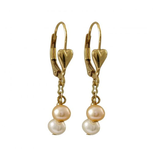 Pink And White 4mm Freshwater Pearls On Gold/white Filled Heart Lever Back Earrings