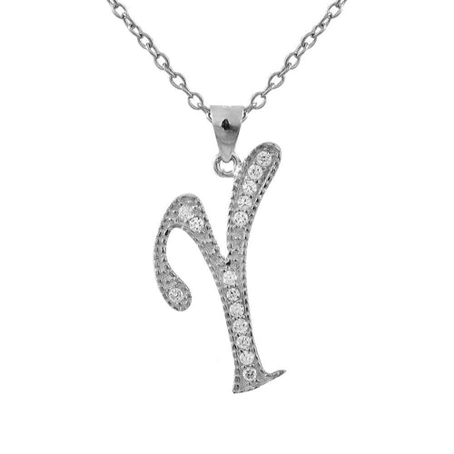 DLF Sterling Silver CZ Initial - Silver/White