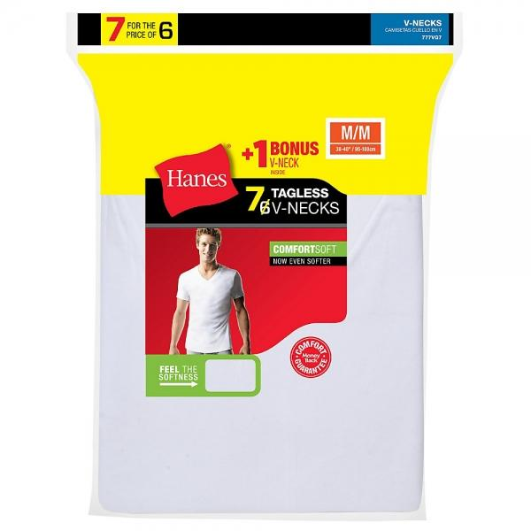 Hanes Men's TAGLESS® V-Neck Undershirt 7-Pack (Includes 1 Free Bonus V-Neck) - Best Seller!
