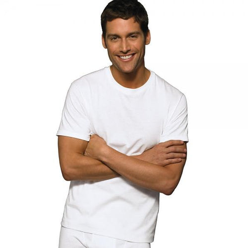 Hanes Classic Mens White Crew Neck T-Shirt P6