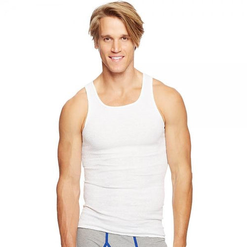Hanes Classics Men's Traditional Fit ComfortSoft® TAGLESS® Ribbed A-Shirt 2X-4X, 3-Pack
