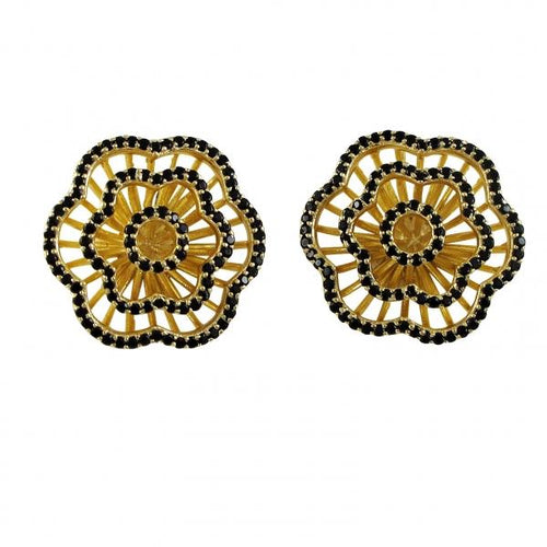 DLF Sterling Silver Gold/Black Plated Flower Post Earrings W18