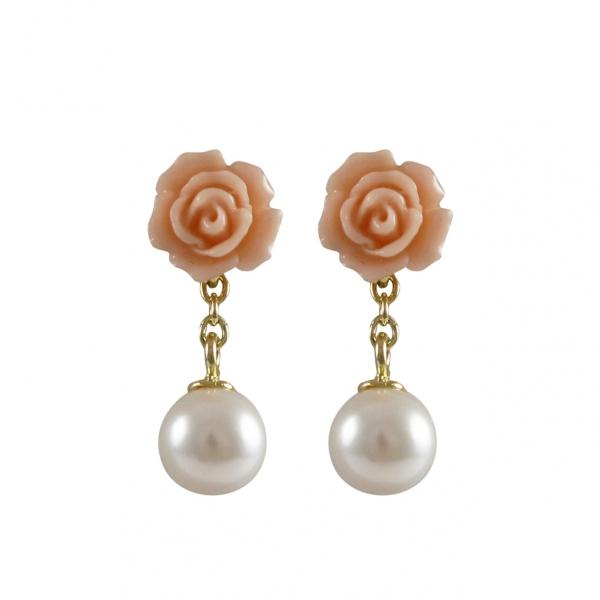DLF Peach Rose Flower With White Pearl Dangling, Gold Plated Sterling Silver Post Earrings W18