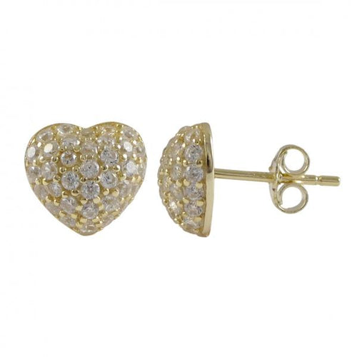 DLF Gold Plated Sterling Silver, 9x9.5mm Puffed Heart With White, Post Stud Gold/White Earrings
