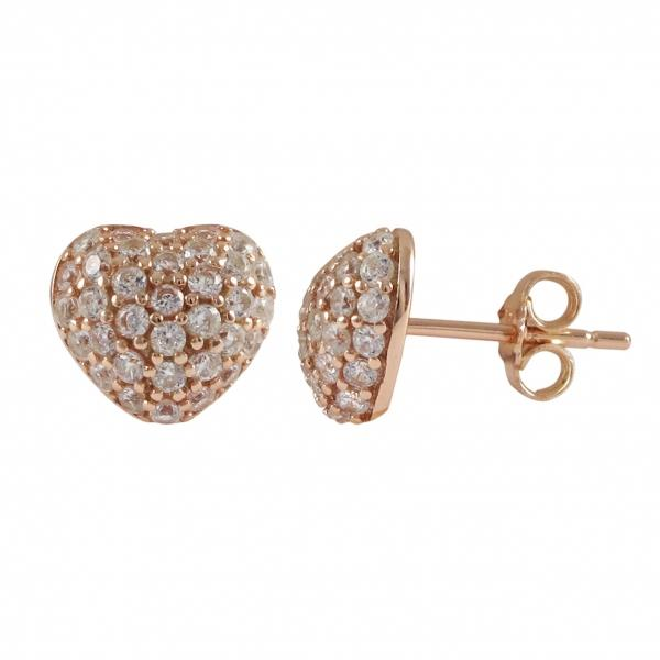 DLF Rose Plated Sterling Silver, .5mm Puffed Heart With White, Post Stud Rose Gold/White Earrings