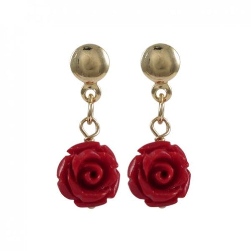DLF Red Rose Flower On Gold Filled Post Earrings W18