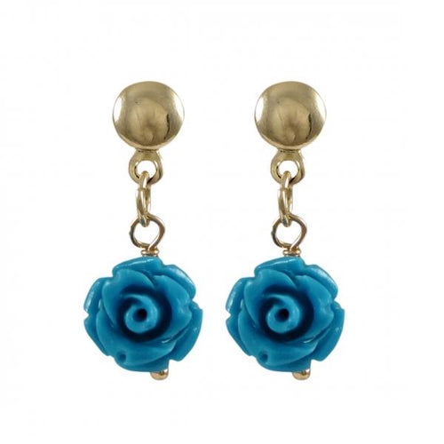 DLF Turquoise Rose Flower On Gold Filled Post Earrings W18