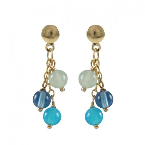 Blue Chalcedony Combination Three 4mm Balls Dangling, On Gold Filled Post Earrings, 22.5mm Long