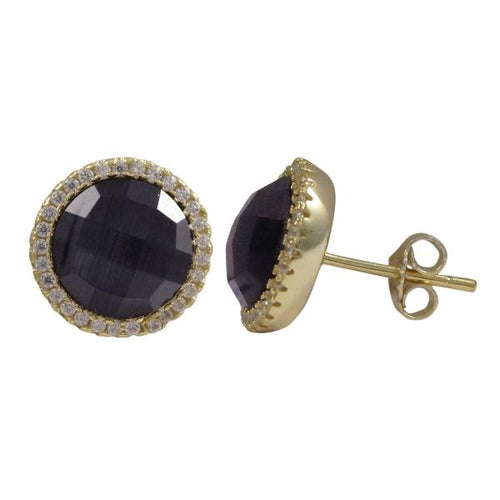 DLF Amethyst Semi Precious Faceted Stone With Border, Gold Plated Sterling Silver, 11.5mm Round Circle Post Stud Gold/Black Earrings