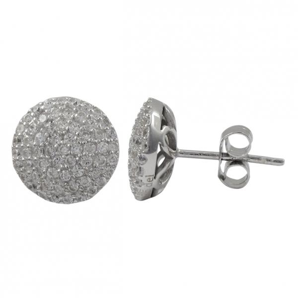 DLF Rhodium Plated Sterling Silver White 10mm Round Post Stud Silver/White Earrings