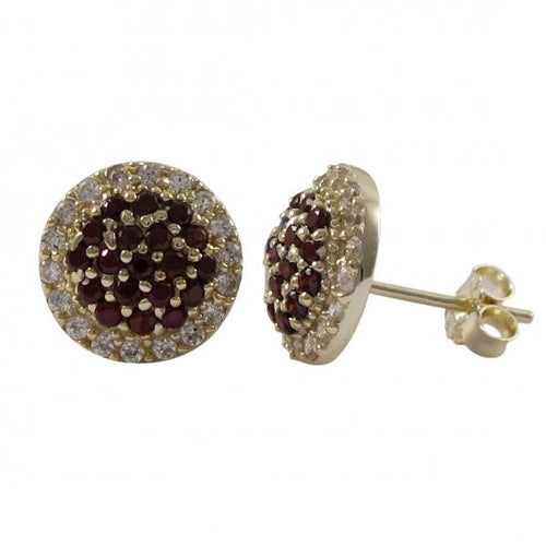 DLF Gold Plated Sterling Silver 10.5mm Round Circle, Garnet With White Border, Post Stud Gold/White/Garnet Earrings