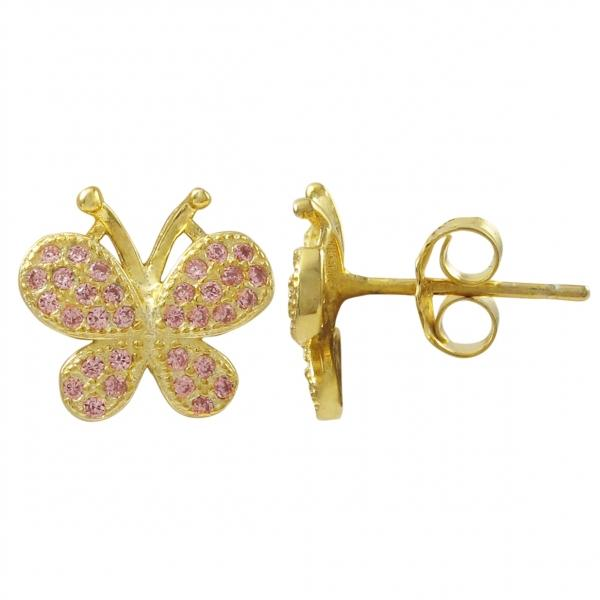 DLF Gold Plated Sterling Silver, Pink Butterfly Post Stud Gold/Pink Earrings