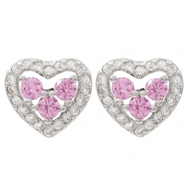DLF Rhodium Plated Sterling Silver, Pink Heart Post Stud Pink/Silver Earrings