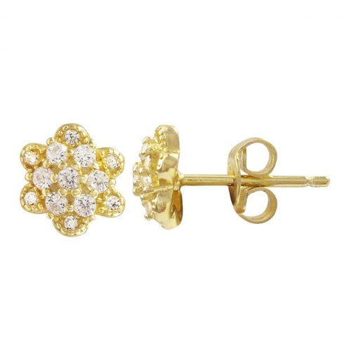 DLF Gold Plated Sterling Silver Flower Post Stud Gold/White Earrings