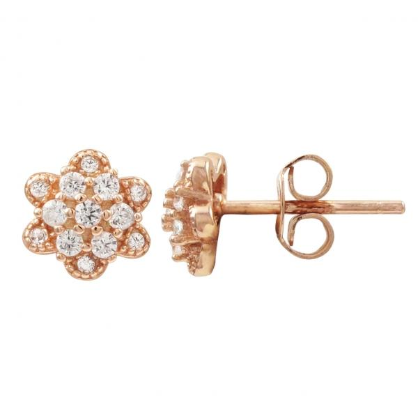 DLF Rose Plated Sterling Silver Flower Post Stud Rose Gold/White Earrings