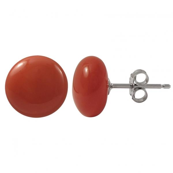 DLF Coral 10mm Flat Coin Shell Pearl On Rhodium Plated Sterling Silver Post Stud Coral/Silver Earrings