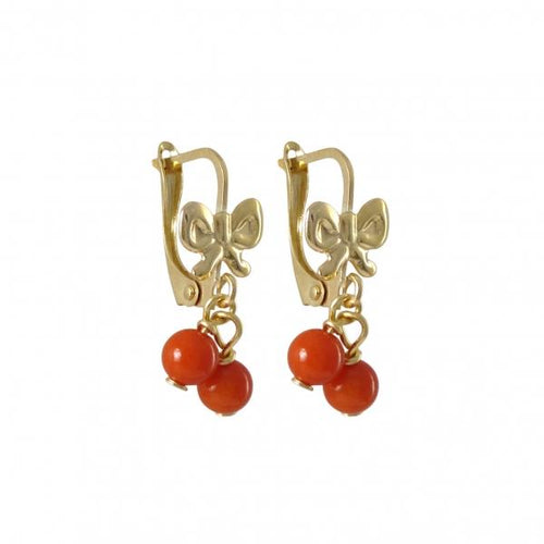 DLFTwo Red 4mm Balls Dangling, On Gold Filled Lever Back EarringsS17