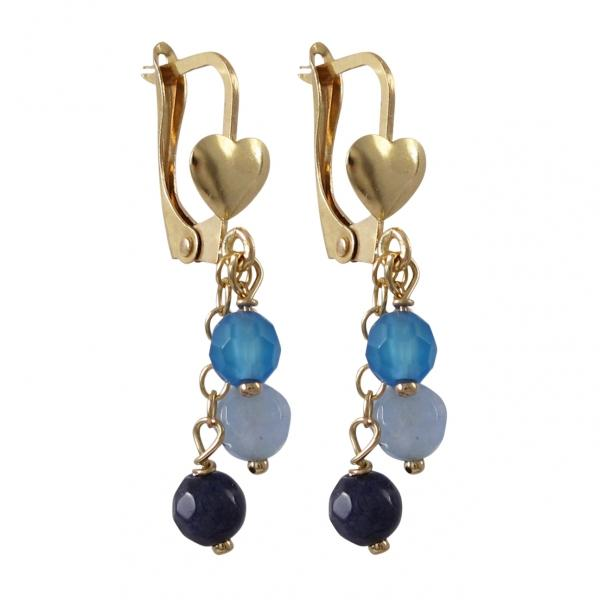 Lapis Combination Three 4mm Semi Precious Balls Dangling, On Gold Filled Lever Back With Heart Blue Earrings
