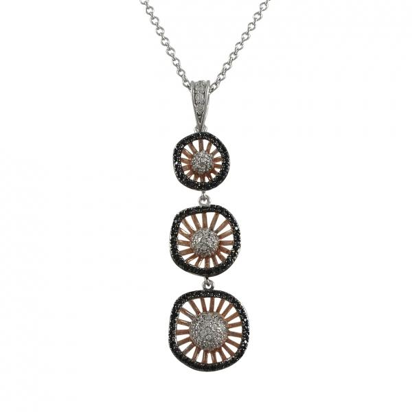 DLF Rose & Black Over Sterling Silver Three Circle Pendant -2.18""