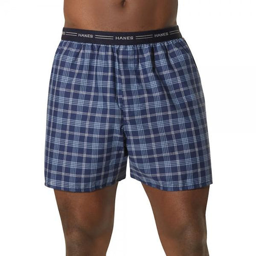Hanes Big Man's Yarn-Dyed Plaid Boxer 5-Pack