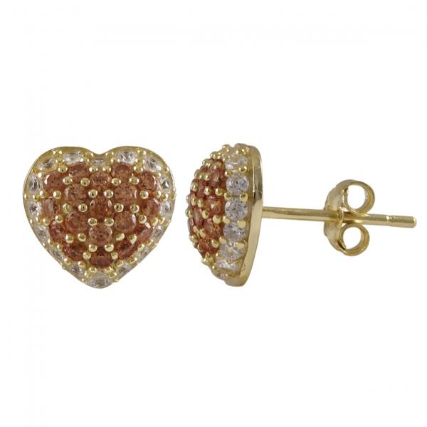 DLF Gold Plated Sterling Silver,.5mm Champagne Puffed Heart With White Border, Post Stud Gold/Champagne/White Earrings