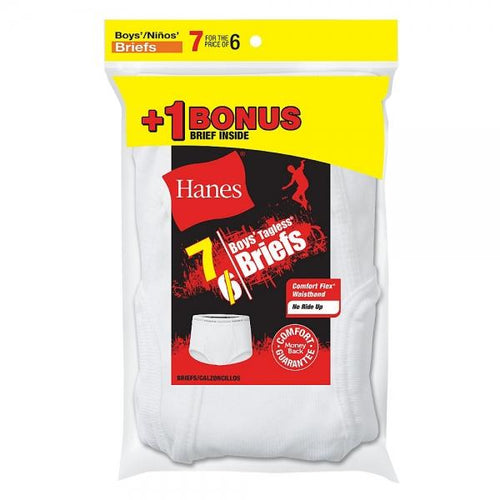 Hanes Boys' TAGLESS® White Briefs 7-Pack (Includes 1 Free Bonus Boxer Brief)