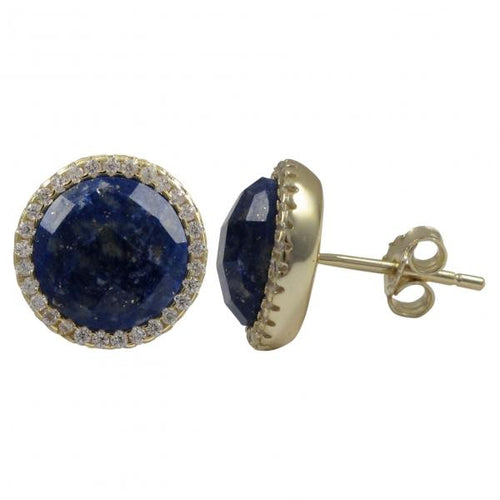 DLF Lapis Semi Precious Faceted Stone With Border, Gold Plated Sterling Silver, 11.5mm Round Circle Post Stud Gold/Lapis Earrings