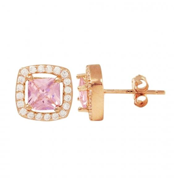 DLF Pink Center With White Border, Gold Plated Sterling Silver Square Post Pink/Gold Earrings
