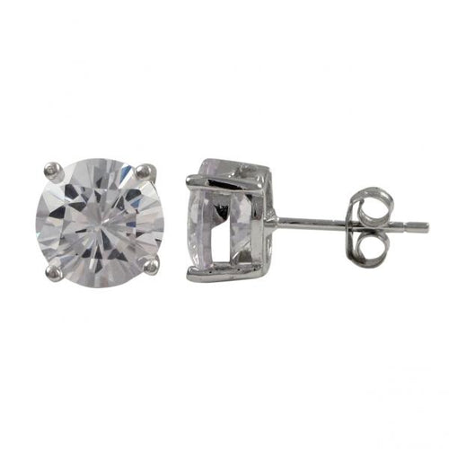 DLF White Rhodium Plated Sterling Silver Post Stud Earrings W18