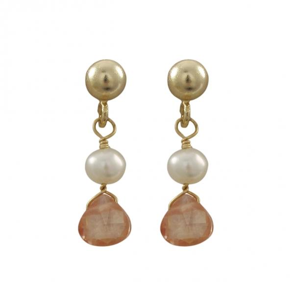 Gold Filled Post Earrings With Dangling White 4mm Pearl And Champagne Color 5x5mm CZ, 0.71""