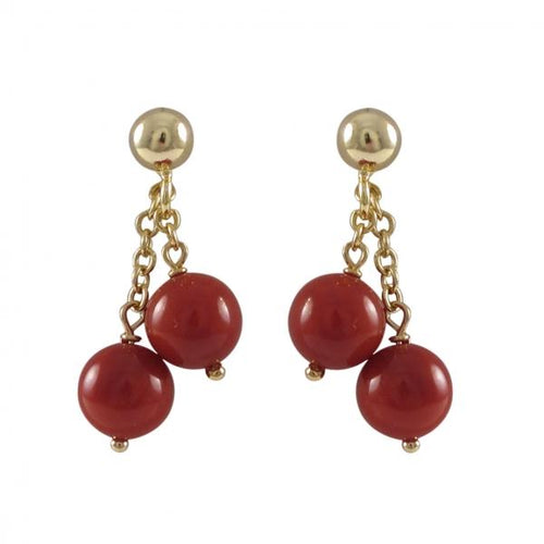 Two 6mm Red Semi Precious Balls On Gold/Rose Plated Sterling Silver Ball Post Earrings, 0.80""