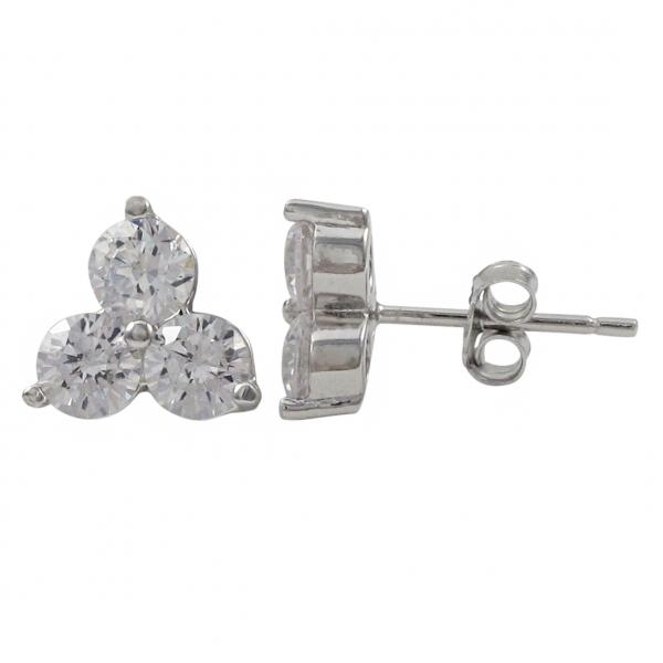 DLF Rhodium Plated Sterling Silver, Three 4mm Post Stud White/Silver Earrings