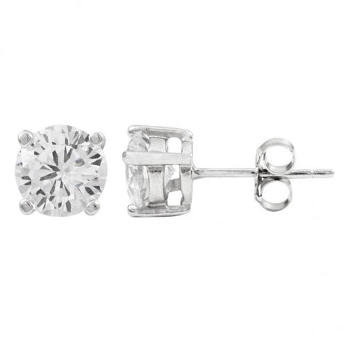DLF White 6mm, Rhodium Plated Sterling Silver Post Stud White/Silver Earrings