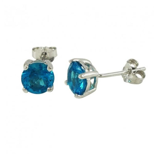 DLF Aqua 6mm, Sterling Silver Post Aqua/Silver Earrings