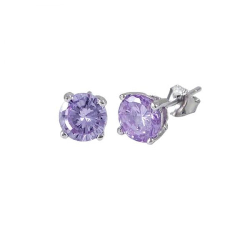DLF Lavender 6mm, Sterling Silver Post Lavender/Silver  Earrings