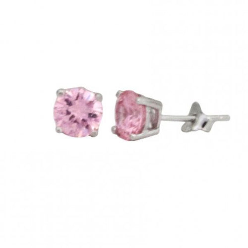 DLF Light Pink 6mm, Sterling Silver Post Light Pink/Silver  Earrings