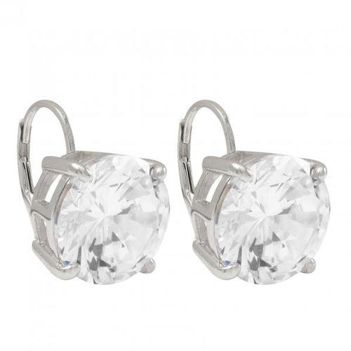 DLF White 12mm CZ On Sterling Silver Lever Back Silver/White Earrings