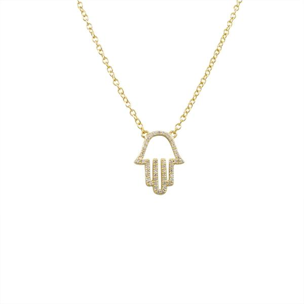 DLF Sterling Silver Gold CZ Hamsa Necklace