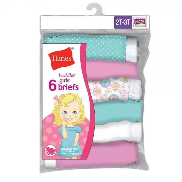 Hanes TAGLESS® Toddler Girls' Cotton Briefs 6-Pack - Best Seller! S17