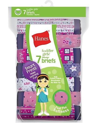 Hanes Tagless® Toddler Girls Days of the Week Pre-Shrunk Cotton Briefs 7-Pack S17