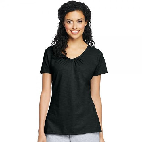 Hanes Women's Slub Jersey Shirred V-Neck