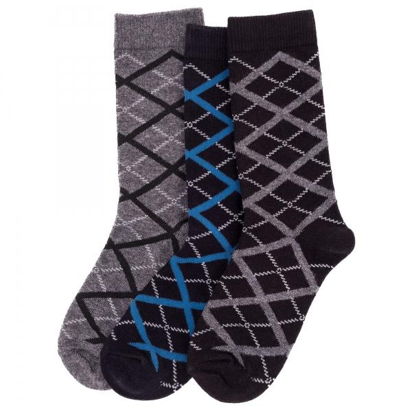 Memoi Boys / Mens Diamond Interlock Sock