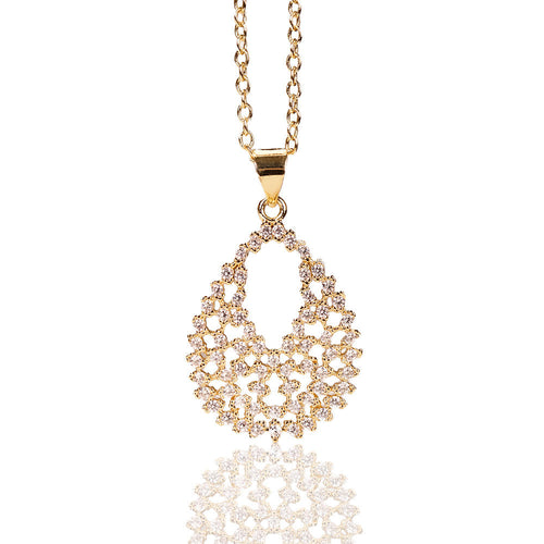 Legaacy Costume Gold Tear Drop Pendant Necklace With Rhinestones