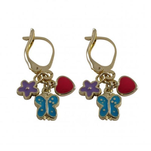 DLF Lavender Flower, Turquoise Butterfly, And Hot Pink Heart On Gold Plated Brass Lever Back Earrings W18