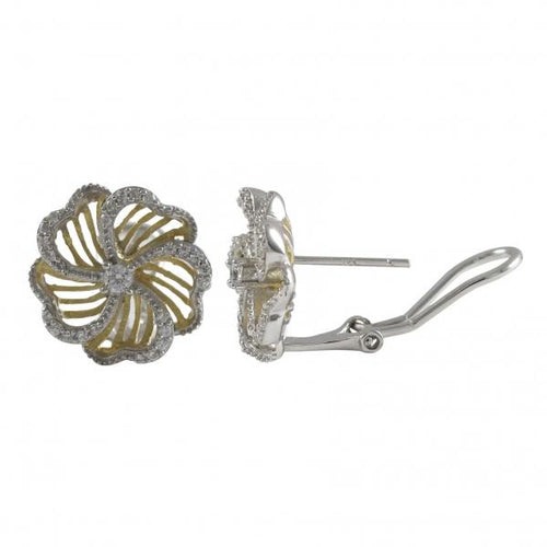 DLF Two Tone Sterling Silver, White Flower Post Clip Stud Earrings W18