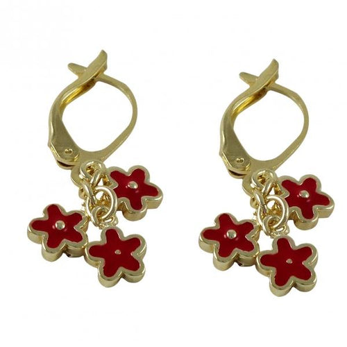 DLF Red Enamel Flowers Dangling On Gold Plated Brass Leverback Earrings W18