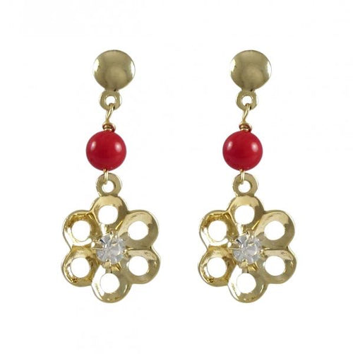 DLF Red Ball And Cutout Flower With White Crystal Center Dangling, Gold Filled Post Earrings W18
